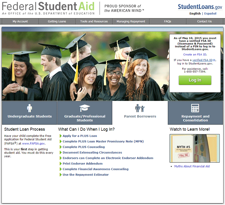 StudentLoans.gov Parent PLUS Loan Screenshot