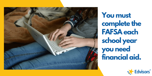 you must complete the fafsa each school year you need financial aid