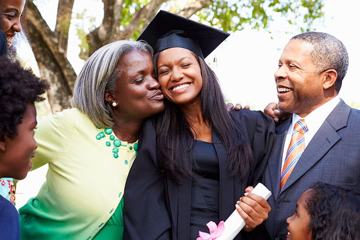 College graduate with her parents who used a private parent student loan