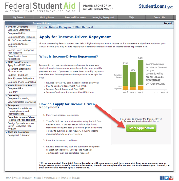 Apply for Income-Driven Repayment Screenshot